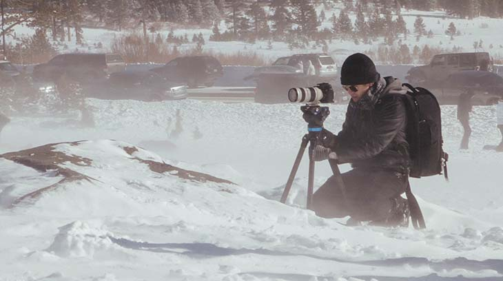Dax Victorino filming a winter engagement session at Mt. Rose, Lake Tahoe